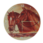 Glass Wall Clock with Horse Print