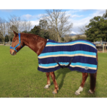 Fleece Blanket with Stripes, Navy